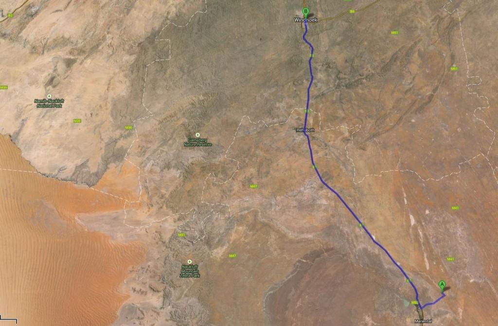 Route: Windhuk - Kalahari