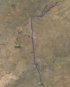 Route vom Waterberg Plateau zurück nach Windhuk