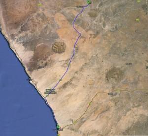 Route von Swakopmund in die Damara Mopane Lodge