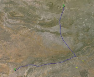 Route von Khorixas über Outjo zum Etosha Nationalpark